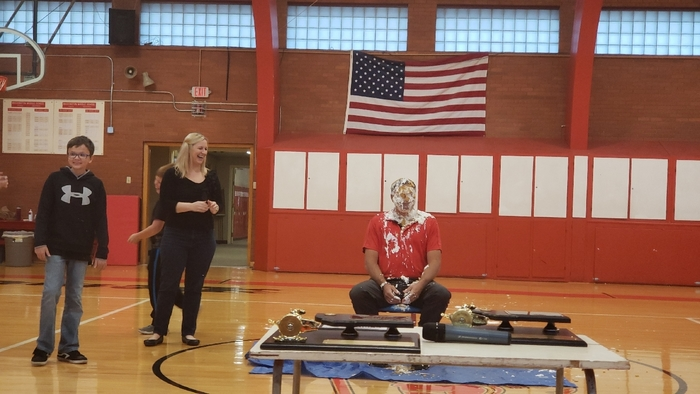 Mr. Goyette with pie on his face