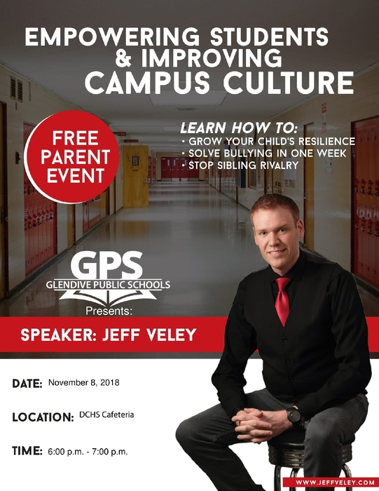 flyer about parent night with picture of Jeff Veley