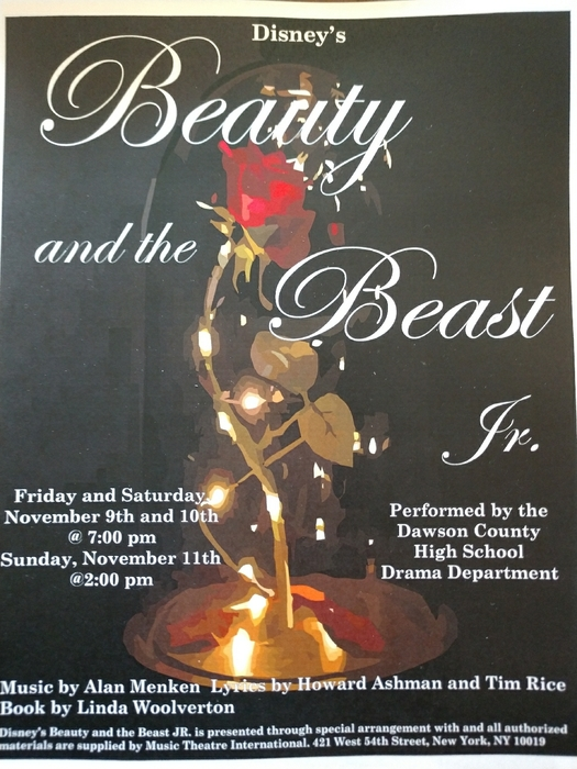 flyer for school play on beauty and the beast. picture of a Rose