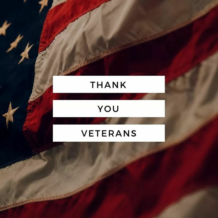 American flag with Thank You Veterans