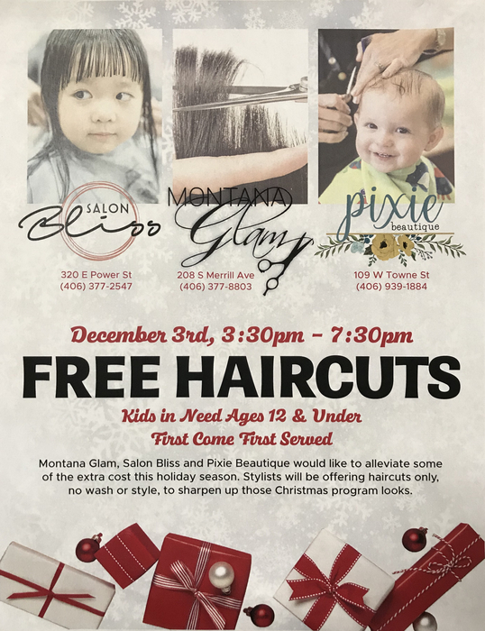 Flyer for free haircuts on December 3rd from 3:30-7:30 at Salon Bliss, Montana Glam, and Pixie Beautique. For kids 12 and under.
