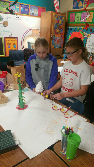 Two students designing Santa's workshop.