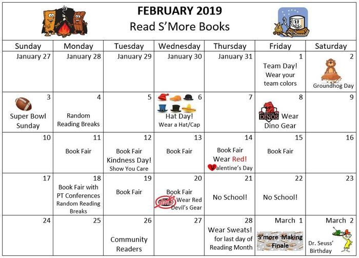 Calendar for I Love to Read month outlining dress up days and activities for Lincoln School.
