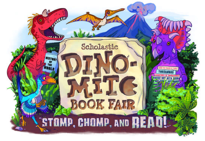 "This is an image with dinosaurs and a slab sign that says ""Scholastic Dino-Mite Book Fair: Stomp, Chomp, and Read!"""