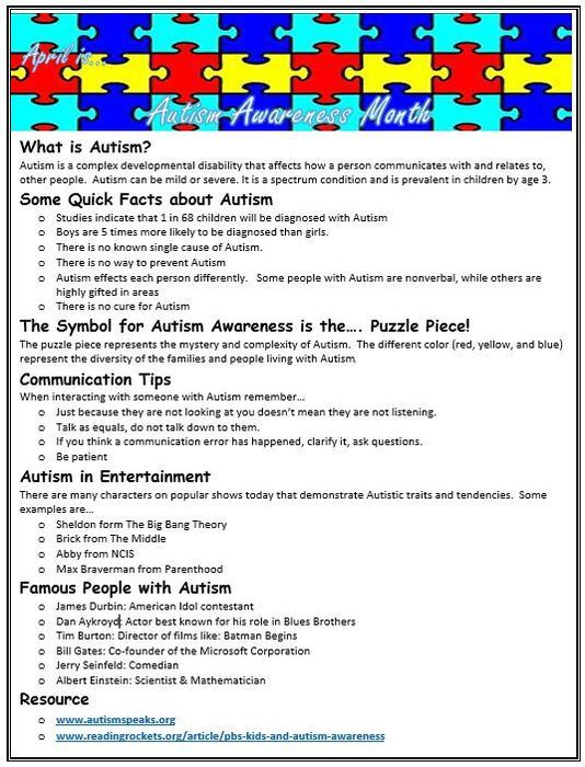 Autism Awareness brochure with quick facts and tips.