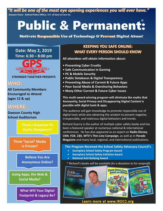 Flyer for Public and Permanent Presentation on May 2, 2019