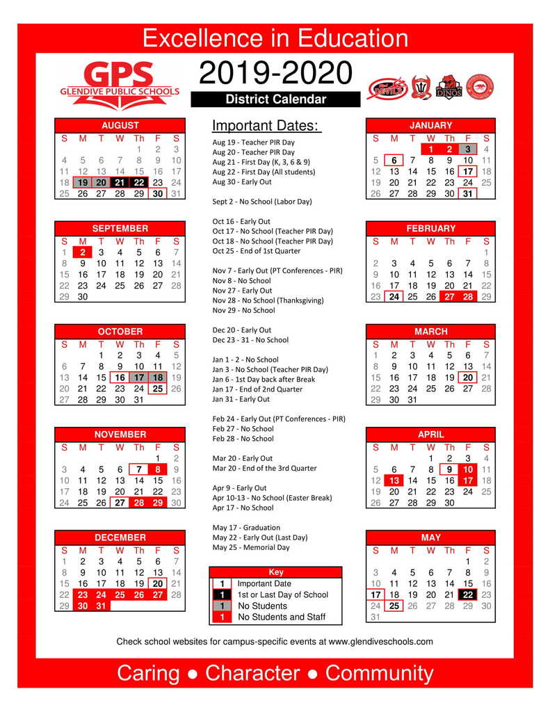 School Calendar for the 2019-2020 school year.