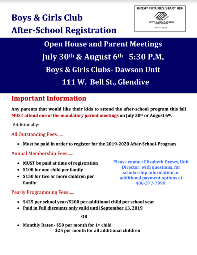 Boys and Girls Club Meeting notificaiton