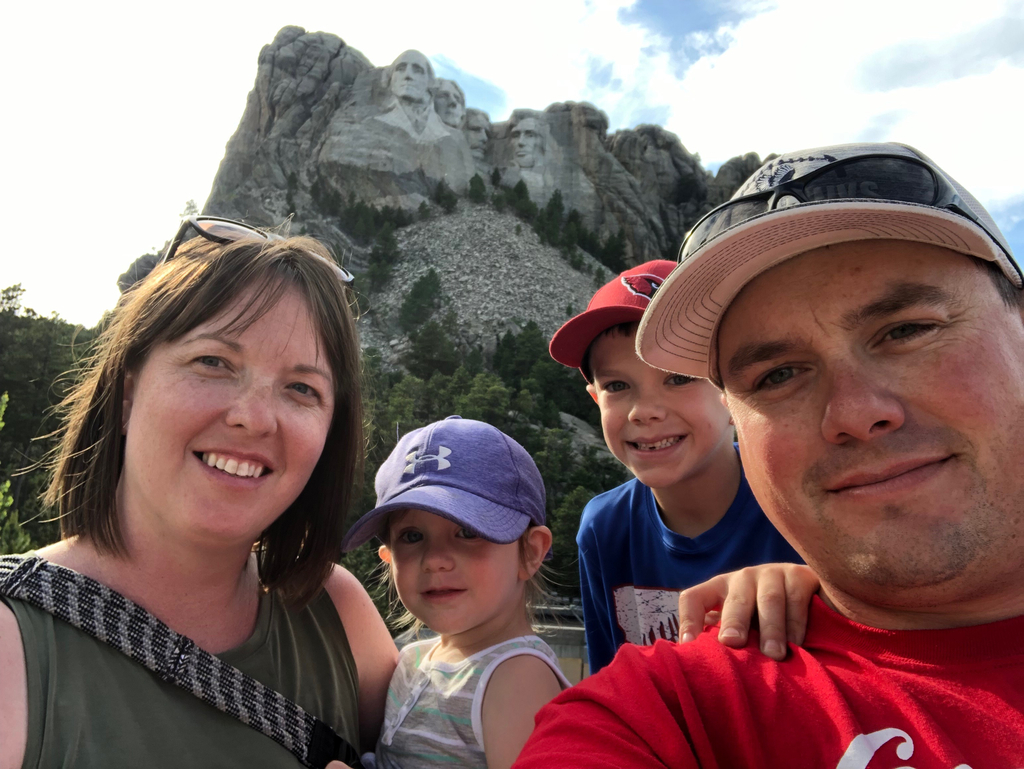 Ms. Berg and her family visited Mount Rushmore this summer.