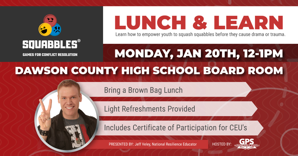 Monday, January 20th 12-1 Lunch and Learn - GPS Board Room
